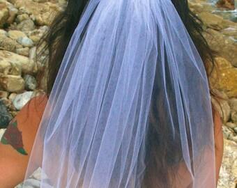 Las Vegas Party Veil, Bachelorette Veil, One Layer Veil, GIRLS NIGHT OUT veil, Party Veil - White Head Veil with Bow