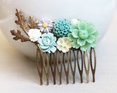 Jade Green, Ivory, Baby Blue, Grey,  Dusty Blue, and Pearl Hair Comb. vintage style hair comb, bridesmaid hair comb, wedding hair accessory