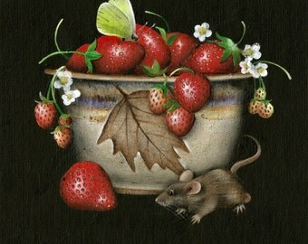 """8"""" X 8"""" Strawberries Pottery Mouse Butterfly Original Acrylic Painting  Small Format"""