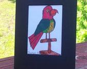 Tropical Bird on Perch Original Art By Thomas Buchanan Child Youth Artist Pen & Ink  Artwork- Thomas B Art