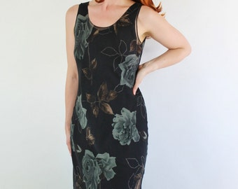 SALE - Vintage 80s does 30s Black Gray Roses Silk Bias Sleeveless Spring Summer Dress