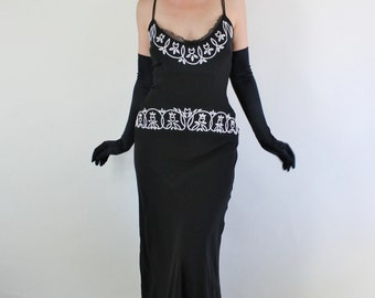SALE - Vintage 90s does 30s Black White Floral Beaded Silk Chiffon Bias Glam Gown // Wedding Guest