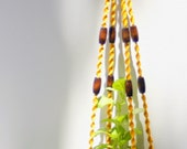 New Yellow Macrame Plant Hanger Handmade with Vintage Cotton Cord and Brown Wood Beads