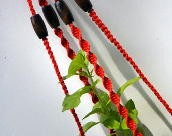 Vintage Waxed Linen Red Handmade New Macrame Plant Hanger with Brown Wood Beads