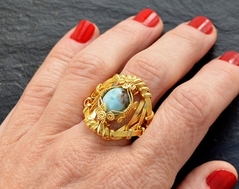 Gold Statement Ring, Cocktail Ring, Larimar Ring, Gold Plated Ring, Wire Wrap Ring, Promise Ring, Blue Gemstone Ring, One of a Kind Ring