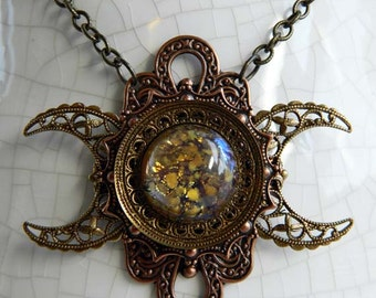 GODDESS of the FIRST HARVEST - Triple Moon Goddess Necklace by Crow Haven Road