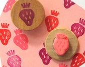 """Strawberry Stamp, Hand carved rubber, Handmade paper craft supply, Ready to ship. 1"""" wood mount"""