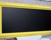 "EXTRA LARGE Framed CHALKBOARD For Sale- 56""x32"" Yellow Framed Kitchen Chalk board - Long Magnetic Chalkboard Blackboard Dining Room Huge"