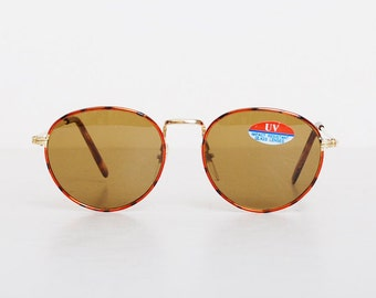Vintage 90s Round Tortoise Gold Sunglasses Shades