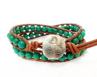 Turquoise 2X Beaded Leather Wrap Bracelet, 6mm Turquoise Beads Double Wrap Gemstone Bracelet with Heart button closure