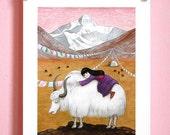 Yak's Dream / 8x10 Art Print / Mountain Girl Illustration / Folk Art Print, Yak, Pastel Watercolor