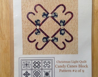 Christmas Light Quilt by Cross Walk Creations - Pattern #2 of 9 - Candy Canes Block
