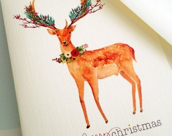 Christmas Card Set, Holiday Cards, Reindeer Cards, Set of 10 cards