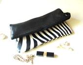 Womens Gift Lines Zebra print clutch / Black and White Stripe Fold Over Purse / Zebra zipper pouch / iPad or Tablet Zebra Print Zipper Bag