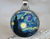 Dr Who Starry Night pendant, Vincent and the Doctor Dr Who jewelry, Tardis pendant, Whovian necklace, Tardis jewelry keychain