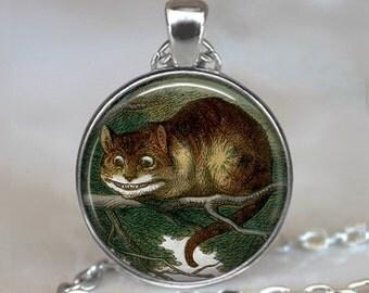 Cheshire Cat necklace, Cheshire Cat pendant, Wonderland jewelry, cat necklace charm, Alice in Wonderland pendant keychain key chain