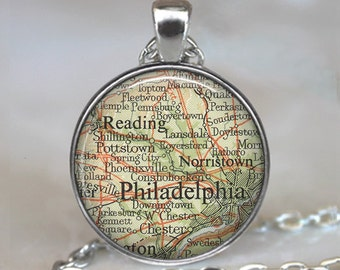 Philadelphia map pendant, Philadelphia map necklace, Philadelphia map jewelry, Philadelphia keychain key chain key fob