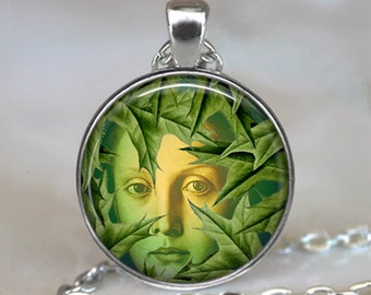 Mystic Tree Spirit necklace, Dryad pendant necklace tree lover gift tree hugger Pagan  gift Tree Goddess Wiccan  jewelry key chain key ring