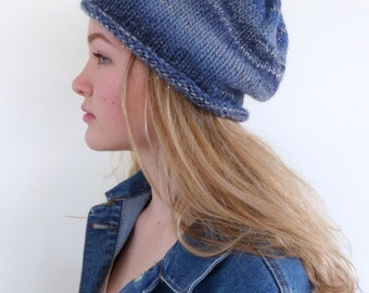 Blue knit hat Blue Beanie hand knitted slouch beanie slouchy hat Winter hat