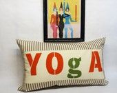 Hand printed Yoga print and brown ticking stripe kidney lumbar pillow - Includes insert