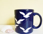 Vintage Waechtersbach Coffee Mug, Dark Blue with White Birds, Seagulls, Collectible Mug