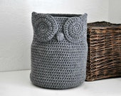 Large Grey Owl Basket Towel Bin Toy Caddy Woodland Baby Nursery Decor Crocheted Holder Home Organizer
