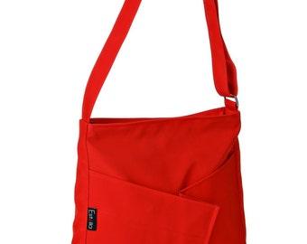 Red Shoulder Bag Messenger bag Purse, Everyday Bag, Comfortable stylish purse, Vegan, Cruelty Free - Diagonal Origami
