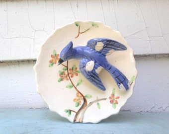 Blue jay, vintage 1940s Ceramic bird Wall Pocket - HOLLYWOOD REGENCY, wall plate, wall hanging, bluejay, 50s, 40s, Ornithology, Audubon