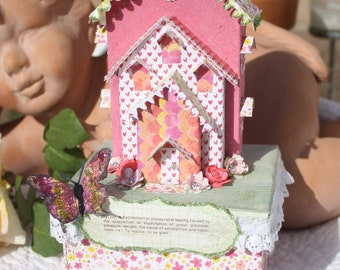 Pink Heart Glitter House Gift Box with Butterfly by My Cozy Cottage Designs OOAK