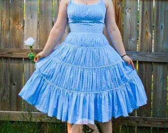 Marilyn Monroe Style Polka Dot Dress- Blue Full Gathered Skirt- 4 Rows of Ruffles- Custom Made to Order