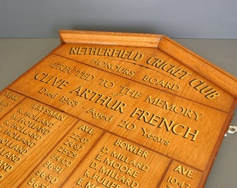 English Cricket Honors Board - 1960's Cricket Score Board - Honors Board - Netherfield Cricket Club