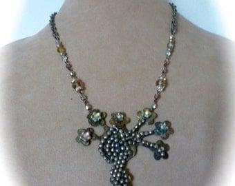 Assemblage Pendant Necklace Flower Bouquet in Vintage Steel Cut on Vintage Metal Brooch