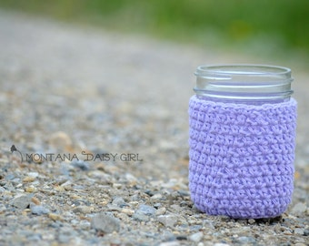 Mason Jar Cozy in Lavender - Jar Cozies - Hostess Gifts - Mason Jar Accessories - Mason Jar Gifts - Jar Holder, Mason Jar Wrap
