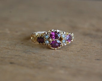 Antique Victorian 15 CT rhodolite garnet and pearl ring