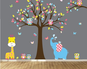 Tree Decal Nursery Wall Stickers Colorful Tree Owl Wall Decal Elephant