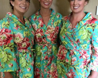 Wedding Day Floral Robe in Your Choice of Designer Fabrics CUSTOM Bride Bridesmaids Made in the USA Bridesmaid Robe