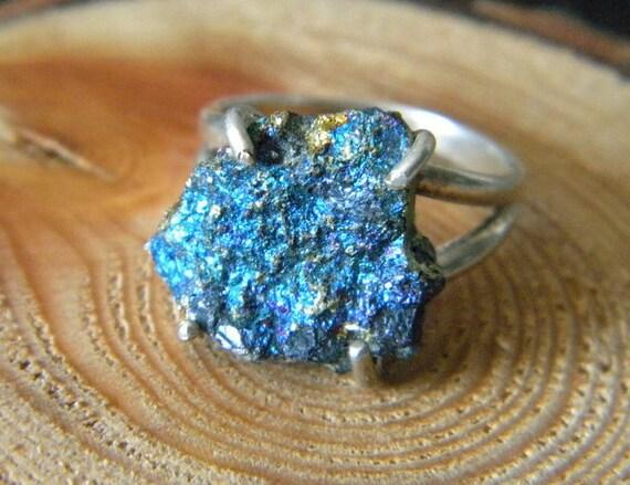 Raw Peacock Ore Ring Chalcopyrite Ring Sterling SIlver Boho