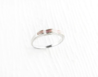 Simplistic Waves Pink Mother of Pearl Sterling Silver Ring