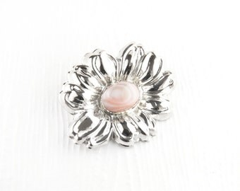 Shasta Daisy Pink Mother of Pearl Sterling Silver Pin Brooch
