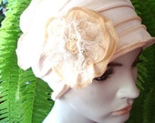 Womens Hats for Chemo Hairloss Headwear Hat  Flapper  Cloche Cream Beanie With  lace   Flower