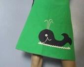 1970s Wrap Skirt.  Reversible Skirt.  Blue and White Gingham Skirt.  Green Whale Applique Skirt