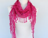 Lace scarf fringe scarf hot pink scarf summer scarves skinny spring scarf lace shawl pink scarf necklace women gift idea for her PEMBE