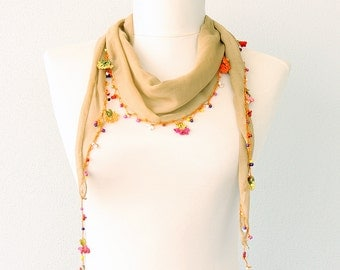 Crochet flowers scarf Summer scarves necklace scarf Oya triangle lace scarf Skinny scarf Mustard Gift for her Beach accessories Headband
