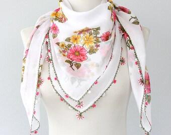 White floral scarf Cotton summer shawl Oya Scarves Turkish Scarf Yemeni Scarf Needle lace scarf Women Fashion accessories Cotton head scarf