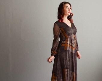 Vintage 1970s Maxi Dress - 70s Long Dress - Modern Architecture Dress