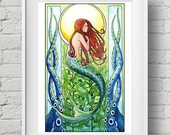 Kelp Forest Mermaid : print art nouveau mermaid watercolor painting