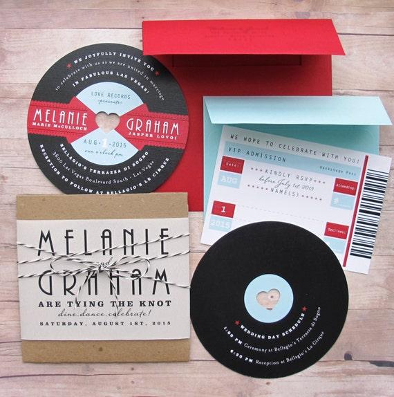 Music Lovers - Reto Record 1950s Rockabilly LP Diecut Invitation for Wedding, Birthday, Live Music Event, Anniversary, Bar or Bat Mitzvah