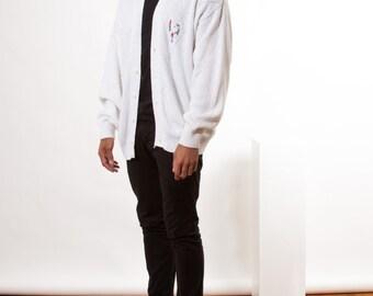 Golfer White Cardigan / Vintage Long Sleeve  Vest / Retro Comfy Cardigan