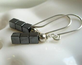 Hematite Earrings / Stacked Hematite Cube Earrings / Geometric Minimalist Earrings / Black Charcoal Smoke Gemstone / Polished Stone Earrings