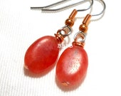 USA Pink Hemimorphite Gemstone Earrings - Surgical Steel French Hooks with Real Copper Accents